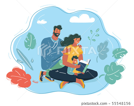 Family Reading a Book Together. Parents. 55548156