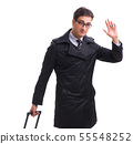 Young businessman with suitcase ready for business trip on white 55548252