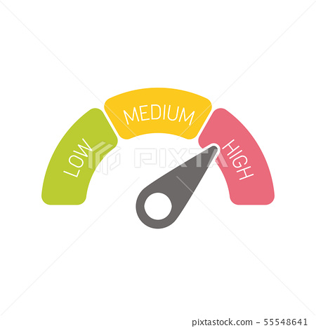 Radial gauge scale witl labels Low, Medium and High. Satisfaction, risk, rating or performance 55548641