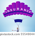 Businessman in insurance concept on parachute 55549044