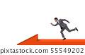 Businessman walking on arrow isolated on white background 55549202