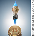 Bitcoins in blockchain cryptocurrency concept - 3 rendering 55549273