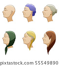 Hairstyles of aged european women set 55549890