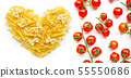 Different types of pasta with cherry tomatoes  55550686
