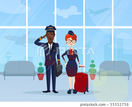 young pilot and flight attendant  55552758