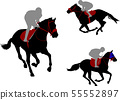 race horses and jockeys silhouettes 55552897