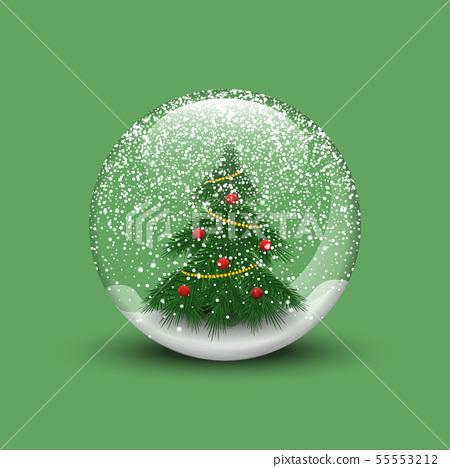 Realistic Christmas snow globe with christmas tree 55553212