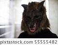 Scary model with wolf mask. halloween 55555482