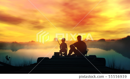 Father with son fishing in the river at dawn 55556939