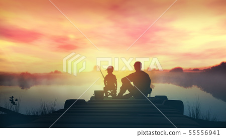 Father with son in the morning fishing from a wooden pier 55556941