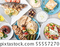 assorted popular greek plates with flat lay angle 55557270