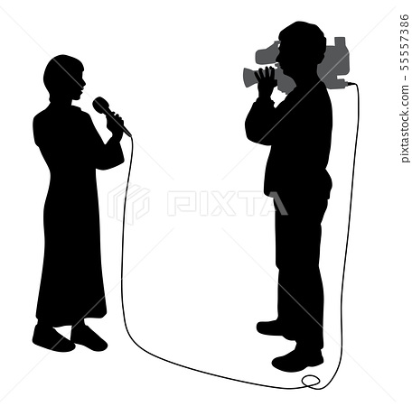News reporter woman and cameraman making reportage 55557386