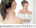 Beauty asian woman smiling makeup look mirror 55558111