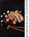 sushi on the black background 55559600