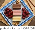 한국의 음식 떡 카스테라와 대추, 호두 55561758