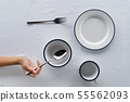 set of white dish bowl cup on food dining table 55562093