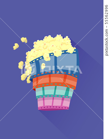 Film Watching Popcorn Illustration 55562996