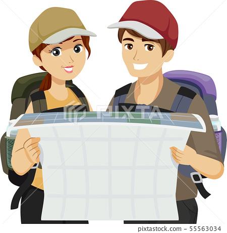 Teens Gap Year Hold Map Illustration 55563034