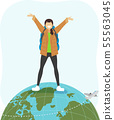 Teen Girl Gap Year Travel World Illustration 55563045