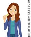 Teen Girl Cheese Illustration 55563049