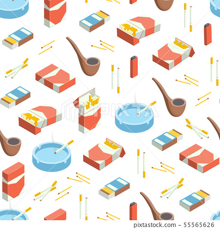 Cigarettes Accessories Smokers 3d Seamless Pattern Background Isometric View. Vector 55565626