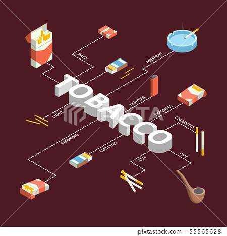 Cigarettes Accessories Smokers Signs 3d Infographics Isometric View. Vector 55565628