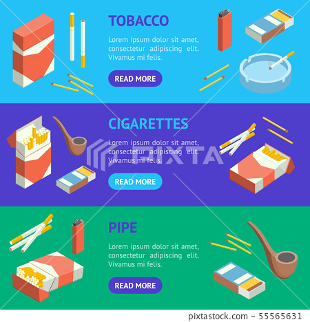 Cigarettes Accessories Smokers Signs 3d Banner Horizontal Set Isometric View. Vector 55565631