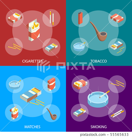 Cigarettes Accessories Smokers Signs 3d Banner Set Isometric View. Vector 55565633