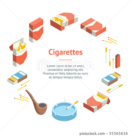 Cigarettes Accessories Smokers Signs 3d Banner Card Circle Isometric View. Vector 55565638