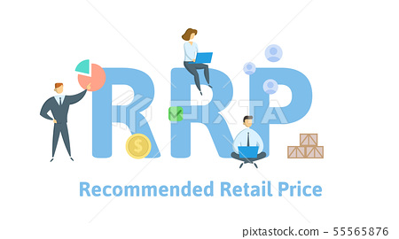 RRP, Recommended Retail Price. Concept with people, letters and icons. Flat vector illustration 55565876