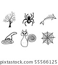 Halloween doodle set isolated on white background. 55566125