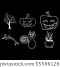 Halloween doodle set isolated on black background. 55566126