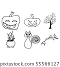 Halloween doodle set isolated on white background. 55566127