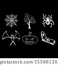 Halloween doodle set isolated on black background. 55566130