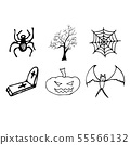 Halloween doodle set isolated on white background. 55566132