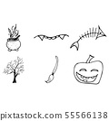 Halloween doodle set isolated on white background. 55566138