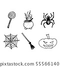 Halloween doodle set isolated on white background. 55566140