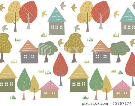 집과 나무 배경 소재 55567174