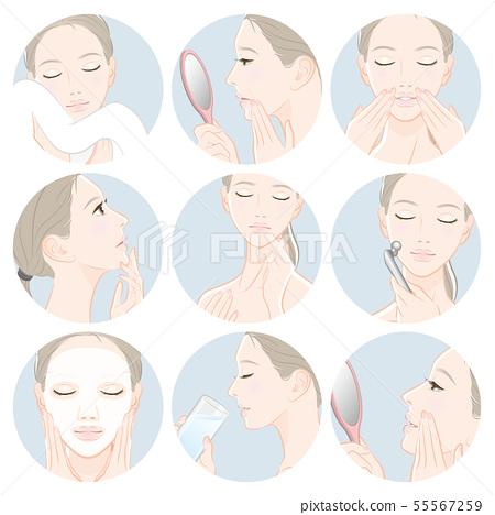 做護膚的婦女的例證 55567259
