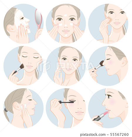 做護膚的婦女的例證 55567260