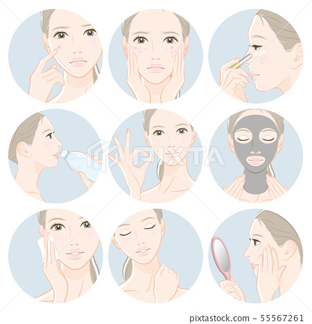 Illustration of a woman doing skin care 55567261