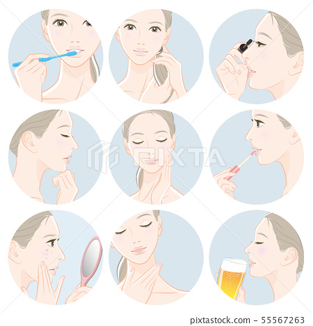 Illustration of a woman doing skin care 55567263