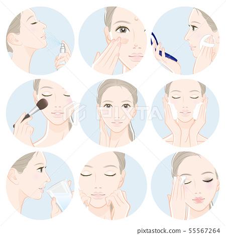 做護膚的婦女的例證 55567264