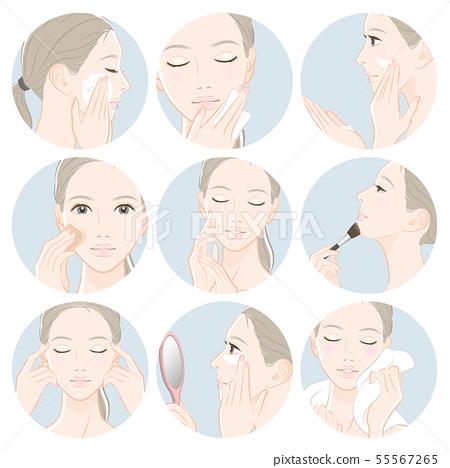 做護膚的婦女的例證 55567265