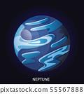 Planet Neptune cartoon vector illustration 55567888