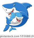 Cute cartoon family of shark playing together 55568619
