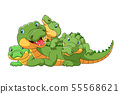 Cute cartoon family of crocodile playing together 55568621