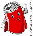 Red cartoon can wearing superhero costume 55568661