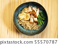 Chinese noodle with fried pork and wonton 55570787