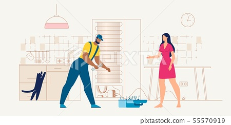 home appliances service repairman at work vector 55570919
